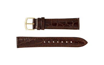 Hadley-Roma Men's LONG Brown Crocodile Grain Genuine Italian Leather Watch Strap MS717