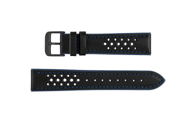 Hadley-Roma Men's Black/Blue Genuine Leather Ion-Plated Buckle Watch Strap MS755