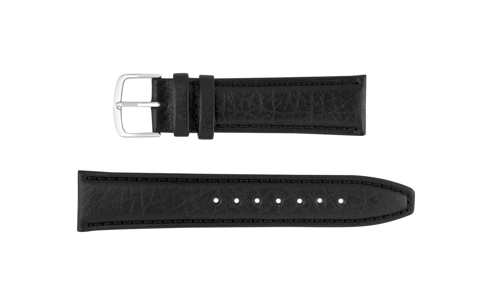 Hadley-Roma Men's Black Genuine Shrunken Grain Leather Watch Strap MS788