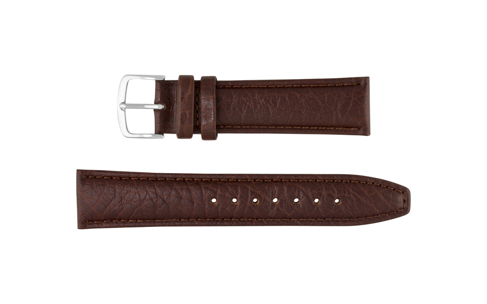 Hadley-Roma Men's Brown Genuine Shrunken Grain Leather Watch Strap MS788