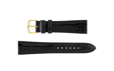 Hadley-Roma Men's LONG Black Genuine Teju Lizard Watch Strap MS801