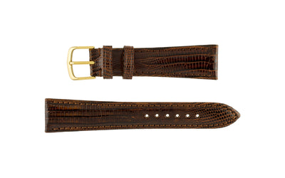 Hadley-Roma Men's LONG Brown Genuine Teju Lizard Watch Strap MS801