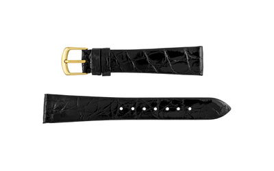 Hadley-Roma Men's SHORT Black Genuine Caiman Crocodile Watch Strap MS821