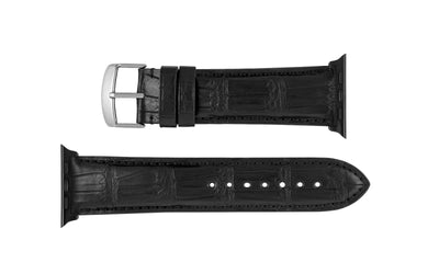 Apple Watch 42mm & 44mm Strap - Black Genuine Matte Alligator
