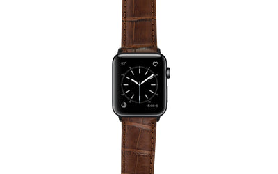 Apple Watch 42mm & 44mm Strap - Brown Genuine Matte Alligator