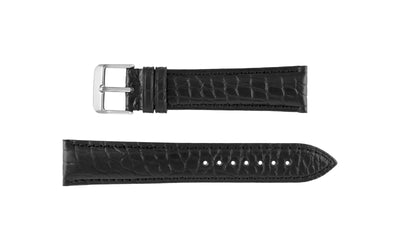 Hadley-Roma Men's MS825 Black Genuine Matte Alligator Watch Strap