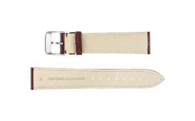 Hadley-Roma Men's Burgundy Genuine Matte Alligator Watch Strap MS825