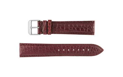 Hadley-Roma Men's MS825 Burgundy Genuine Matte Alligator Watch Strap