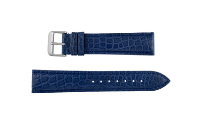 Hadley-Roma Men's Navy Round Grain Matte Genuine Alligator Watch Strap MS825