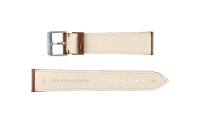 Hadley-Roma Men's Tan Genuine Matte Alligator Watch Strap MS825