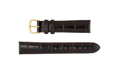 Hadley-Roma Men's Espresso Brown Genuine Leather Watch Strap MS836