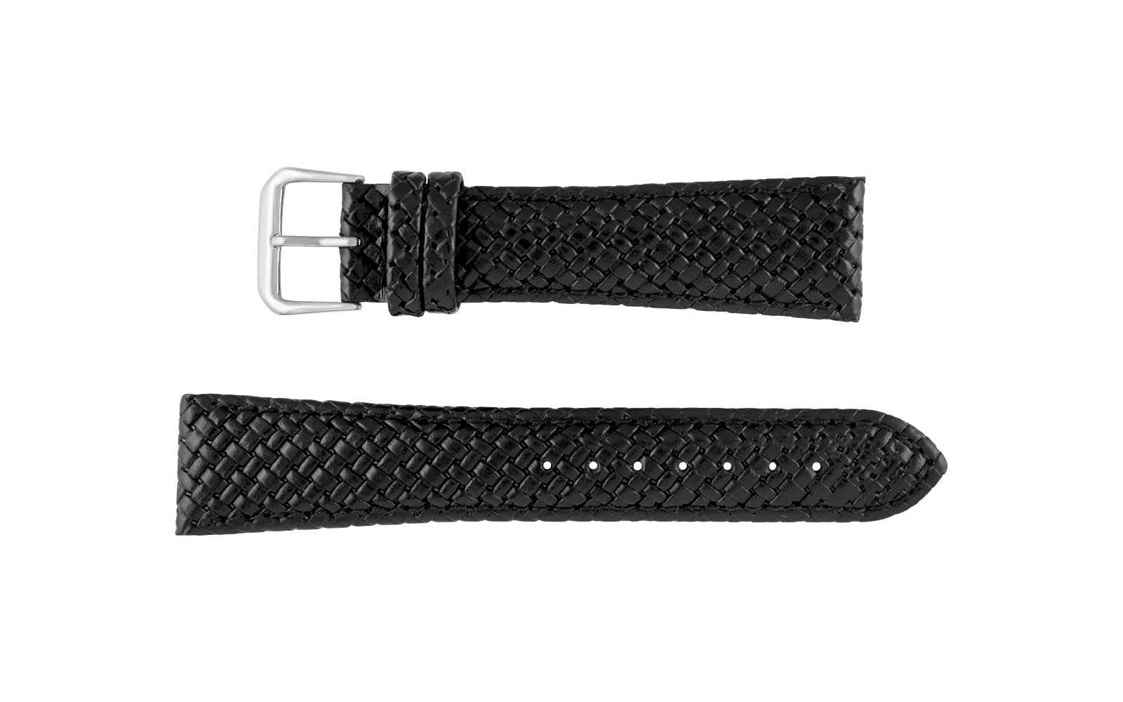 Hadley-Roma Men's Black Genuine Leather Weave Style Watch Strap MS843