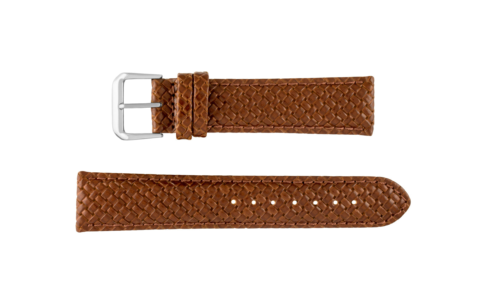 Hadley-Roma Men's Tan Genuine Leather Weave Style Watch Strap MS843