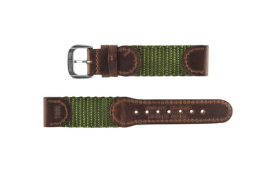 Hadley-Roma Men's Brown/Olive Swiss Army® Style Nylon & Leather Watch Strap MS866