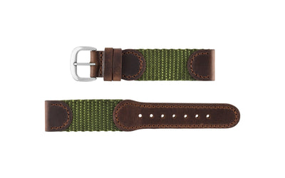Hadley-Roma Men's Brown/Olive Swiss Army® Style Nylon/Leather Watch band MS866