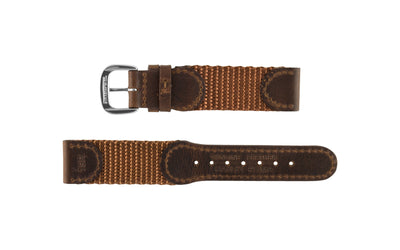 Hadley-Roma Men's Brown Swiss Army® Style Nylon & Leather Watch Strap MS866