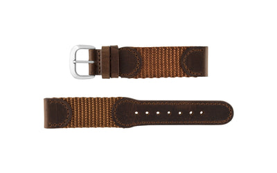 Hadley-Roma Men's Brown/Brown Swiss Army® Style Nylon/Leather Watch band MS866