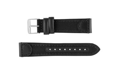 Hadley-Roma Men's Black Canvas/Leather Watch Strap MS868