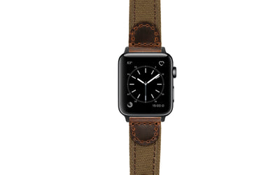 Apple Watch 38mm & 40mm Strap - Brown Canvas & Leather APP868