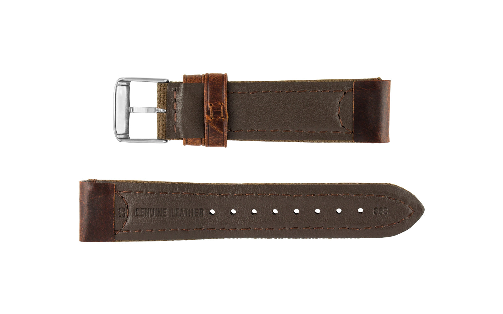 2f31d799c16 hadley roma brown 18mm canvas leather watch band ms868 ...