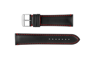 Hadley-Roma Men's Black/Red Genuine Leather Watch Strap MS884