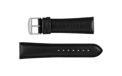 Hadley-Roma Men's Black Shrunken Grain Textured Genuine Leather Watch Strap MS899