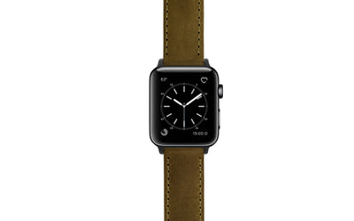 Apple Watch 42mm & 44mm Strap - Olive Crazy Horse Saddle Leather Watch Strap APP059-04