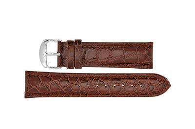 Hadley-Roma Men's Brown Crocodile Grain Leather Watch band MS907