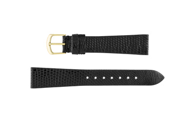 Hadley-Roma Men's LONG Black Genuine Java Lizard Watch Strap MS970