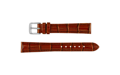 DB Straps Women's Havana Brown Padded Crocodile Grain Leather Watch Strap QGDB08104
