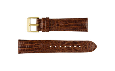 DB Straps Women's LONG Havana Brown Teju Lizard Grain Leather Watch Strap QGDB08202LW