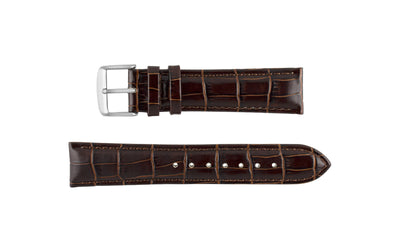 DB Straps Men's Brown Chronograph Style Crocodile Grain Leather Watch band QGDB08102