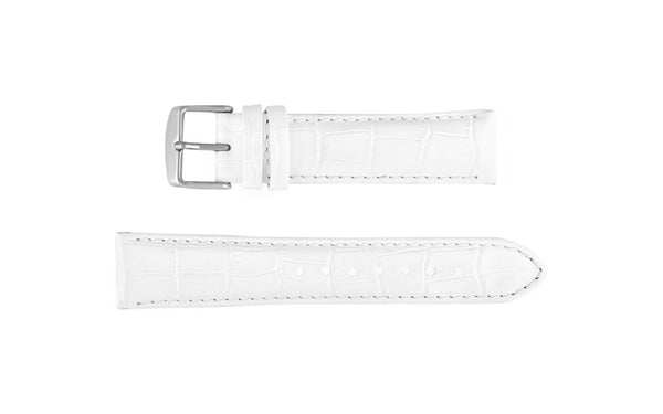 Db Straps Women S Long White Padded Crocodile Grain