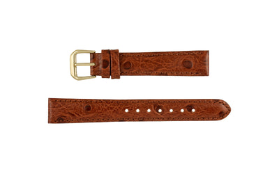 DB Straps Women's LONG Havana Brown Ostrich Grain Leather Watch Strap QGDB0812