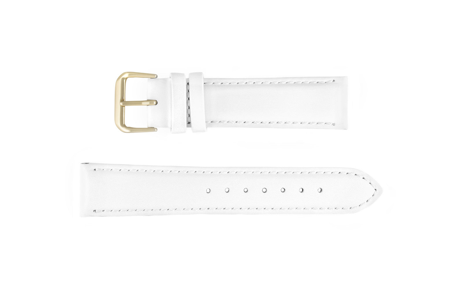 DB Straps Men's White Smooth Padded Leather Watch Strap QGDB08123