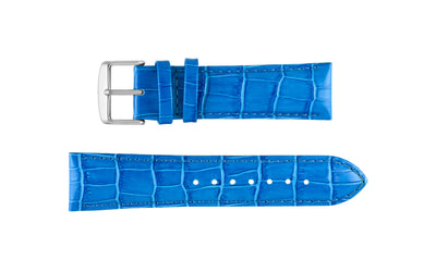 DB Straps Men's Blue Chronograph Style Crocodile Grain Leather Watch Strap