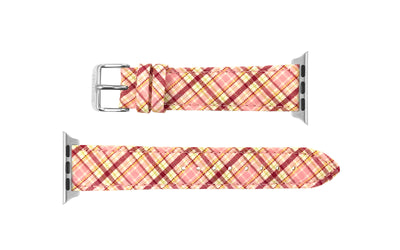 Apple Watch 38mm & 40mm Strap - Women's Pink Plaid Canvas APP055