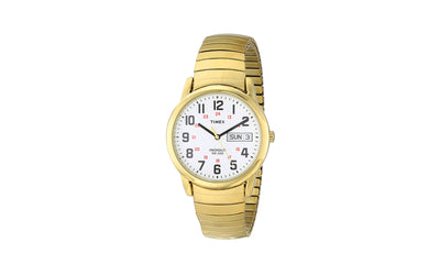 TMX Style Men's Yellow Tone TIMEX Style Easy Reader Day-Date Metal Expansion Watch Band