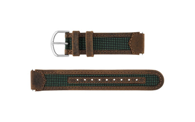 TMX Style Men's Brown and Green 18mm Leather TIMEX Expedition Style Watch band TMX09743BR