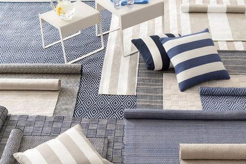 Dash & Albert navy and neutral indoor outdoor rugs polypropelene