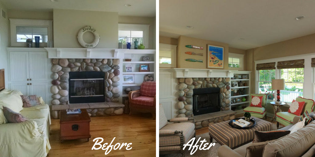 Before & After Living Room Lake Michigan
