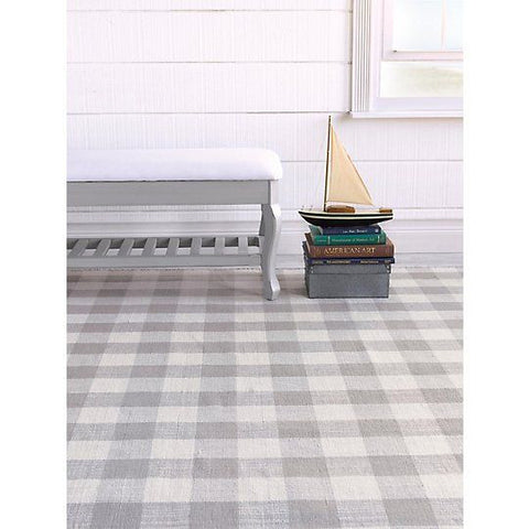 Check Please Pewter Hand Woven Rug