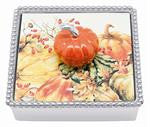 Beaded Cocktail Napkin Box Orange Pumpkin