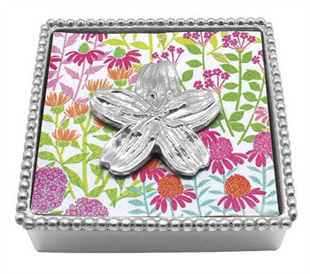 Floral Beaded Napkin Box