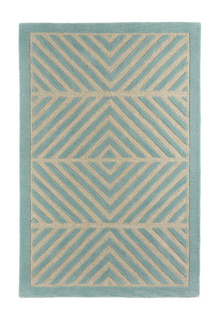 Mod Herringbone Wool Rug in Spa Blue