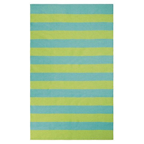 Awning Stripe Indoor/Outdoor Rug-Lake