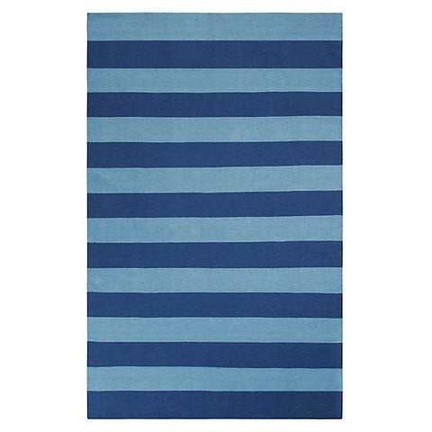 Awning Stripe Indoor/Outdoor Rug-Navy.