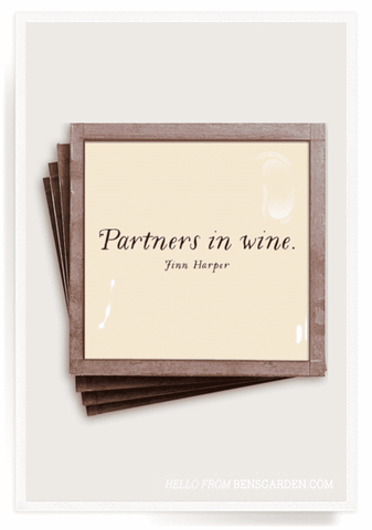 Partners In Wine-Copper & Glass Coasters-Set of 4