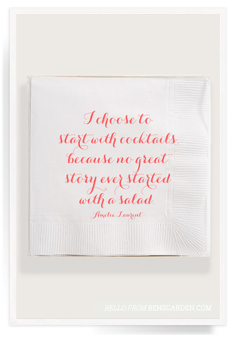 I Choose To Start With Cocktails Cocktail Napkins 40 Count