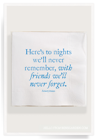 Here's To The Nights With Friends Cocktail Napkins 40 Count